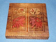 Vtg/Antique Pyrography Poinsettias~Picturesque Scenes Flemish Folk Art Wood Box