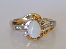 Beautiful 10ct Gold Opal & 0.10ct Diamond Cluster Ring Size N