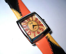 FOCI QUARTZ LADIES WRIST WATCH ORANGE FACE WITH BLACK & ORANGE LEATHER  BAND