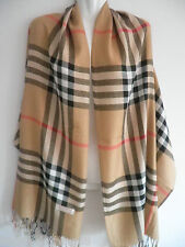 new women men plaid check long soft pashmina scarf wrap shawl cape stole CAMEL