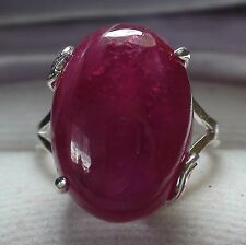 Beg! 16.50 ct Natural Ruby Ring,Fine Estate Jewelry 925 S.Silver.Size 5.0.