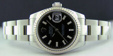 ROLEX - Ladies 26mm White Gold & Stainless Datejust Black Dial 179174 SANT BLANC