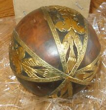 "Decorative 4"" Wood and Brass Ball Wooden Sphere Orb Globe"