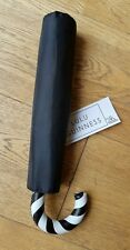 LULU GUINNESS Candy Cane Small/Slim Umbrella Black Brand New Tags