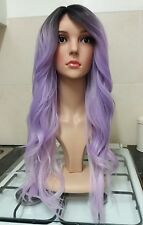 Purple human hair wig, ombre, dark roots, lace front, side fringe, bangs,