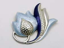 StunningVintage Sterling Silver and Enamel Flower Brooch by J Tostrup of Norway