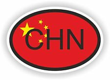 CHN CHINA COUNTRY CODE OVAL WITH FLAG STICKER bumper decal car bike tablet