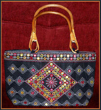 EMBROIDERED SILK BLEND TOTE HANDBAG/SHOPPING BAG/PURSE/EVENING BAG FROM INDIA!