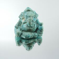 100% Natural Hand Carved Blue Turquois Gemstone Ganesha Statue Collectibles Rare