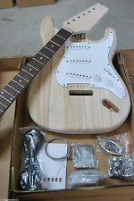 DIY 6 STRING STRAT ELECTRIC GUITAR BUILDER KIT-SOLID WOOD NECK & BODY-