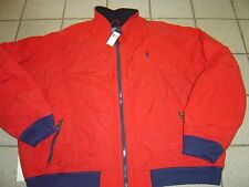 "BIG MENS RALPH LAUREN RED W/NAVY ""PORTAGE ZIP FLEECE LINED JACKET SIZE 3X $225"