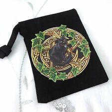 NEW BLACK CAT DESIGN BLACK RUNE STONE BAG, POUCH, TAROT, WICCA, PAGAN GIFT
