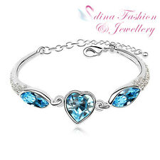 18K White Gold Plated Made With Swarovski Crystal Ocean Blue Heart Bracelet