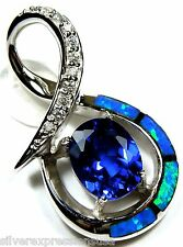 2.5 Ct Tanzanite & Blue Fire Opal Inlay 925 Sterling Silver Pendant For Necklace