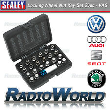 Sealey 23pc Locking Alloy Wheel Nut Bolt Key Socket Set VW Audi Seat Skoda VAG