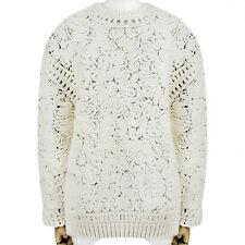 Stella McCartney Ivory Cream Chunky Semi-Sheer Knitwear Jumper Sweater IT42 UK10