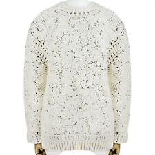 Stella mccartney ivoire cream chunky semi-transparent knitwear jumper sweater IT42 UK10