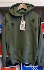 Distressed ripped army green hoodie by 9DEUCE sweat hooded sweatshirt M Medium
