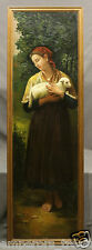 """Woman with Sheep"" Large Early 20th Century Italian School Oil Painting"