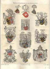 Stampa antica ARALDICA STEMMI BLASONI TEDESCHI Heraldry 1890 Old antique print