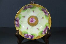 ANTIQUE GOA LIMOGES FRANCE HAND PAINTED VIOLETS PORCELAIN BOWL SIGNED