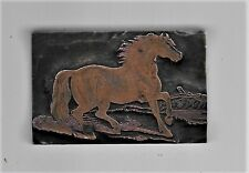 VINTAGE COPPER TOP PRINT BLOCK OF A HORSE ALL METAL ROUND BOTTOM