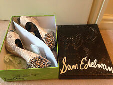 *BNIB* SAM EDELMAN LORISSA GREY CREAM SNAKESKIN SPIKE STUD SHOES UK 4 US 7