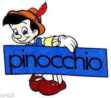 "6.5"" DISNEY PINOCCHIO  CHARACTER FABRIC APPLIQUE IRON ON"