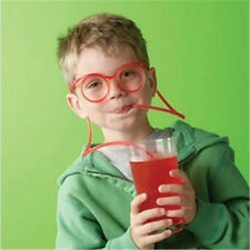 Creative Drink Straws Kids Party DIY Crazy Funny Glasses Drinking Straw Red