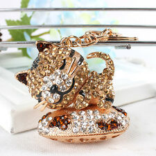 Sleep Drunk Cat Lovely Pendant Cute Rhinestone Crystal Purse Bag Key Chain Gift