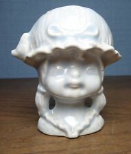 Glossy Light Powder Blue Ceramic Pottery Colonial Girls Head Bust Planter Pot