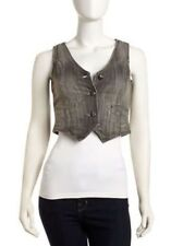 Miss Me Jeans Demin Vest Sea Grey Gray Charcoal Cropped Free People Sz M NEW