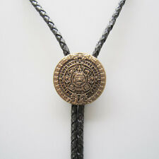 ORIGINAL ANTIQUE GOLD PLATED CLASSIC AZTEC CALENDAR   SCULPTING BOLOTIE NECKLACE