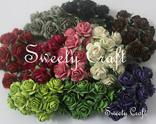 100 Mix 10 color ( RO - 02 ) Mulberry Paper Rose Flower handmade size 1 cm.