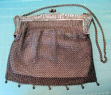 Antique Vintage MESH PURSE:  White Leather Lined, Marked German Silver