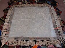 Antique Chinese Canton Embroidery Silk Shawl Floral Rose Fringe Wedding