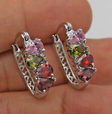 18K White Gold Filled - WaterDrop Amethyst Peridot Topaz U-Style Hoop Earrings