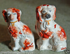 Lot of 2 Antique Staffordshire Pottery 19th Century Dog Spaniel Figurines