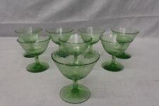 8 Pc Depression Vaseline Green Uranium CRACKLE Pattern Footed Sherbet Glasses