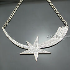Silver Glitter Crystal Shooting Star Bar Chain Pageant Bib Necklace Drag Queen