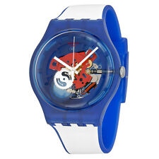 Swatch Clownfish Blue Red Transparent Dial Mens Quartz Watch