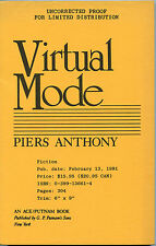 Fiction: VIRTUAL MODE by Piers Anthony. 1991. Uncorrected proof.