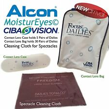Contact Lens Case With Mirror & Travel Bag For Ciba Dailies + Cleaning Cloth