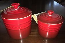 NWT RETIRED Le Creuset Sealed Red SPICE STORAGE JAR Canister LG/MED 1.5 & 3 Cups