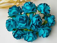 50 D.Turquoise Mulberry Paper Rose Flower /Wedding /Craft/3-3.5 cm. PF_RS300TQ3