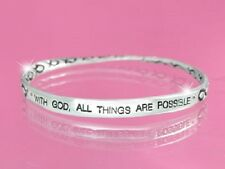 With God,All Things Are Possible Fish Twisted  Inspirational Bangle  Bracelet