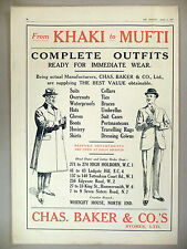 Chas. Baker & Co Clothes PRINT AD - 1919 ~~ From Khaki to Mufti ~~ Charles Baker