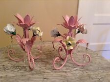 c 1940 Pink Tole Porcelain Roses Murano Drops Candle Holder Lamps