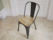 Metal cafe chair with wooden seat dining chair rustic vintage retro