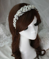 Wedding Cream Pearl Silver diamante Bridal Crown Prom Party Bridal Hair Tiara UK